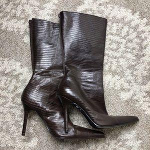 Aldo Faux Snakeskin  Pointy Toe Boot Size (37) 7